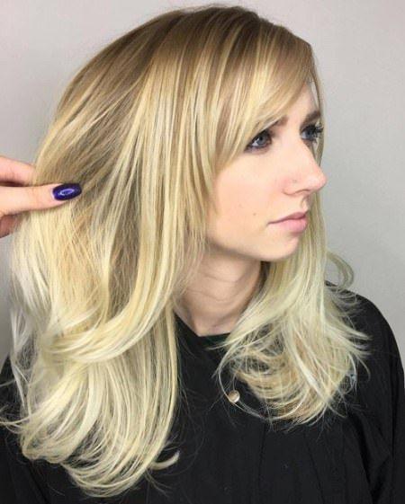 20 Long lagdelt hårklipp med smell