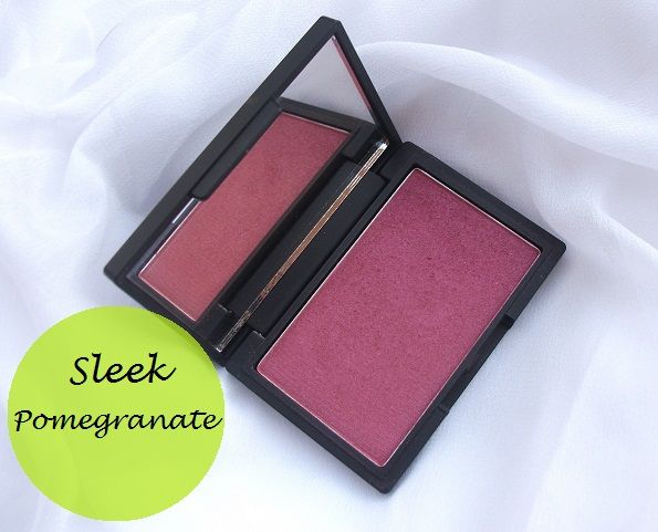 Slank makeup rødme gjennomgang og fargeprøver: granateple